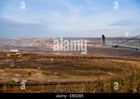 Europa, Deutschland, Nordrhein-Westfalen, Braunkohletagebau Garzweiler  II bei Juechen, Aussichtsplattform.  Europe, - Stock Photo