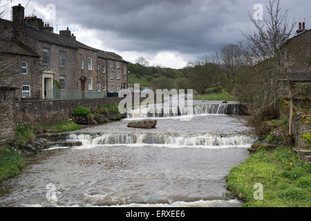 The village of Gayle, with it's waterfall, in Wensleydale in the Yorkshire Dales - Stock Photo