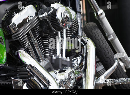 Custom Harley Davidson motorcycle v twin engine - Stock Photo