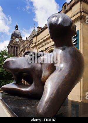 The Reclining Woman Henry Moore Sculpture outside Leeds Art Gallery The Headrow Leeds West Yorkshire England - Stock Photo