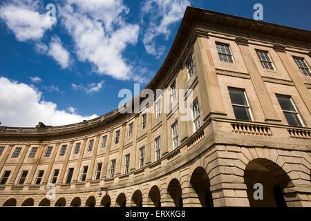 UK, England, Derbyshire, Buxton, The Crescent, iconic spa era building during restoration - Stock Photo