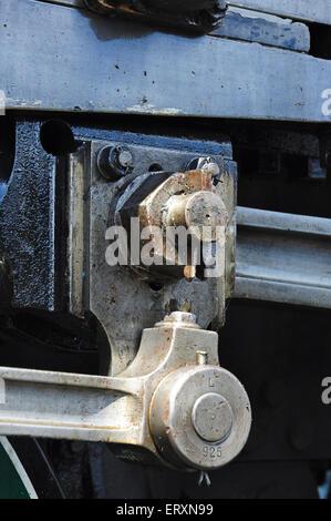 Close up of Gudgeon Pin and Split Pin on steam locomotive 925 Cheltenham - Stock Photo