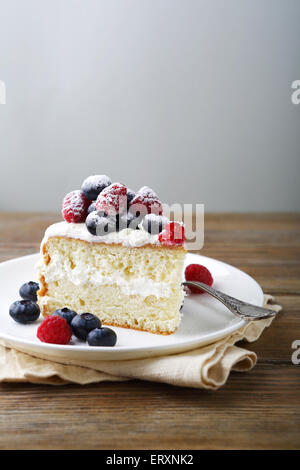 Cake with berries, tasty food - Stock Photo