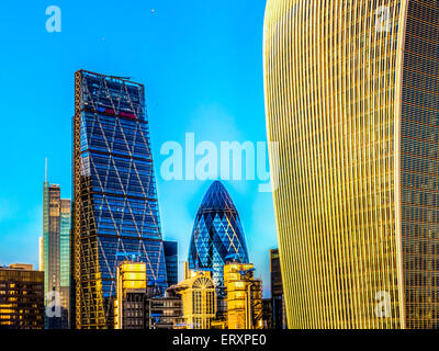 Cheesegrater, Gherkin and Walkie Talkie Buildings London - Stock Photo