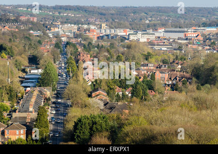 High Wycombe, Buckinghamshire, England, U.K. viewed from West Wycombe Hill. - Stock Photo