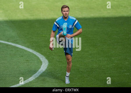 Cologne, Germany. 09th June, 2015. Germany's national player Mario Goetze warms up during the final training session - Stock Photo