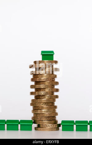 A small plastic model green house on top of a pile of pound coins in the middle of terrace of houses.  Housing finance concept.