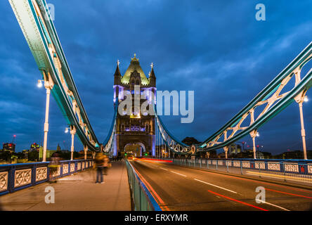 Bridge Tower night view from the bridge, London United Kingdom. A combined bascule and suspension bridge which crosses the River