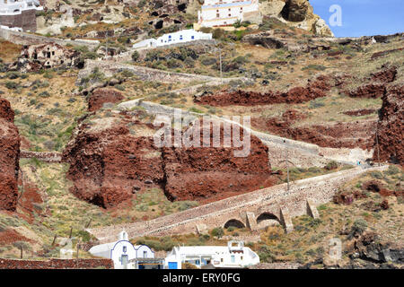 Pathway from Oia down to Ammoudi Bay, Santorini, Greece - Stock Photo