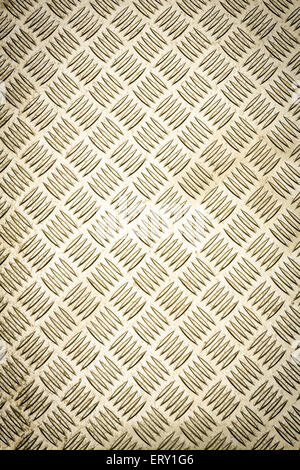 Gold colored diamond plate, checker plate, tread plate, cross hatch kick plate and Durbar floor plate for texture - Stock Photo