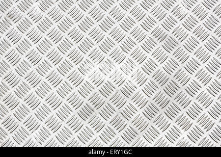 Diamond plate, also known as checker plate, tread plate, cross hatch kick plate and Durbar floor plate for texture - Stock Photo