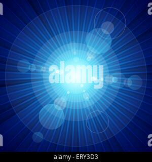 Blue color burst of light and lens flare. RGB EPS 10 vector - Stock Photo