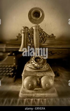 old vintage 1800s telephone ; Baroda ; Gujarat ; India , asia - Stock Photo