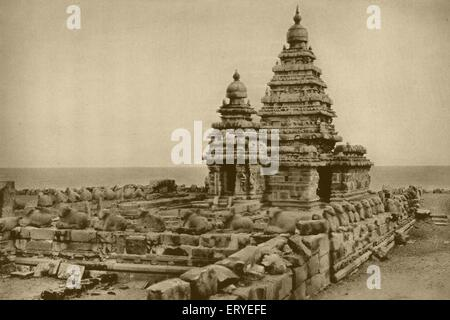 aad 160925 - Old vintage 1900s Shore Temple Mahabalipuram , Kancheepuram , Tamil Nadu , India - Stock Photo