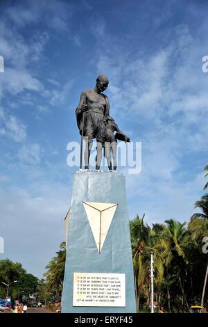 Statue of Mahatma Gandhi in Old Goa ; India - Stock Photo