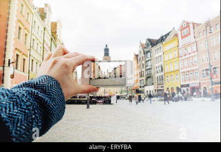 taking a picture of the old city of Wroclaw in Poland, travel concept - Stock Photo