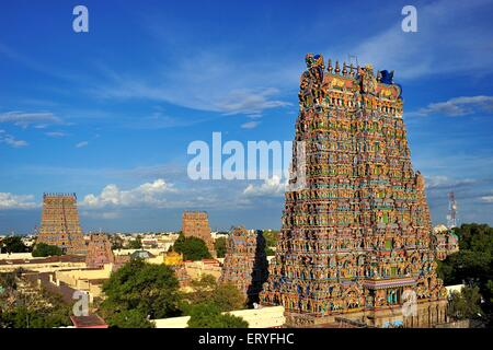 Meenakshi Sundareswarar or Meenakshi Amman Temple , Madurai , Tamil Nadu , India - Stock Photo