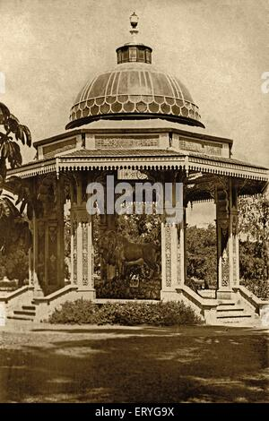 Lion statue , old vintage antique 1900s photo , Mysore , Mysuru , Karnataka , India , Asia Stock Photo