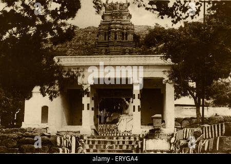 Chamundi Hill temple entrance , old vintage antique 1900s photo , Mysore , Mysuru , Karnataka , India , Asia