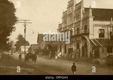 Old vintage 1900s Crystal Picture Palace on South Parade Road now M G  Road Bangalore Karnataka India - Stock Photo