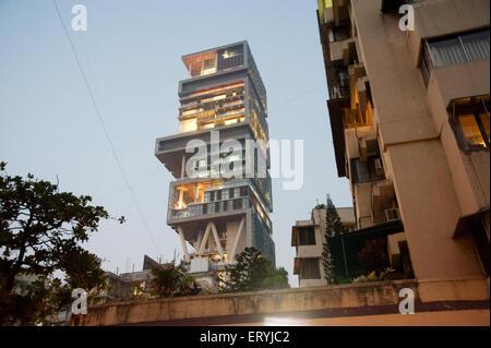Antilla house of  mukesh ambani Bombay Mumbai Maharashtra India - Stock Photo