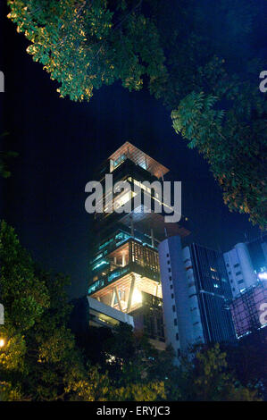 Antilla house of  mukesh ambani ; Bombay ; Mumbai ; Maharashtra ; India - Stock Photo