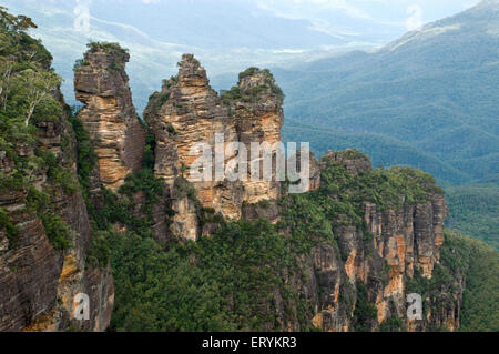 Peaks known three sisters in Blue mountains ; New South Wales ; Australia - Stock Photo