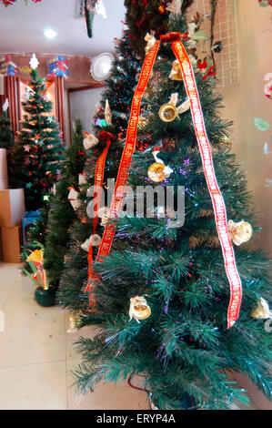 artificial decorated christmas trees for sale at bandra in bombay mumbai maharashtra india - Decorated Christmas Trees For Sale
