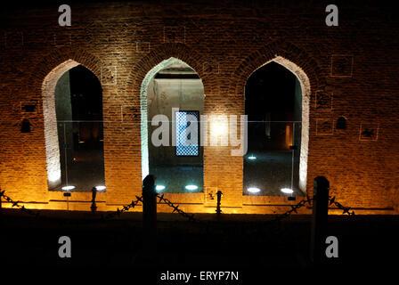 Bullet marks visible on preserved wall at Jallianwala or Jalianwala Bagh ; Amritsar ; Punjab ; India - Stock Photo