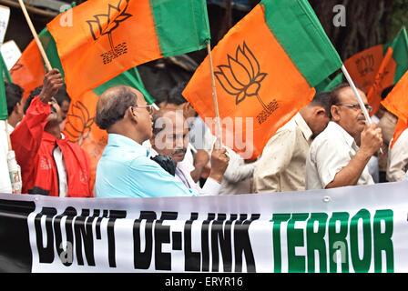 Bharatiya janata party bjp activists protesting against 26/11 terrorists attack ; Bombay Mumbai - Stock Photo