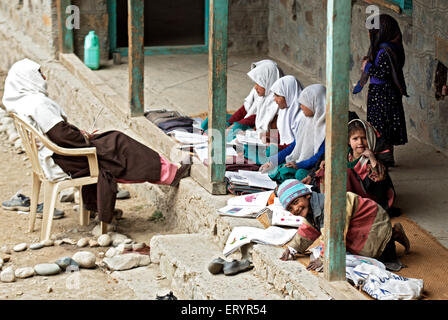 Local primary and secondary school at Kargil ; Jammu and Kashmir ; India 4 October 2008 - Stock Photo