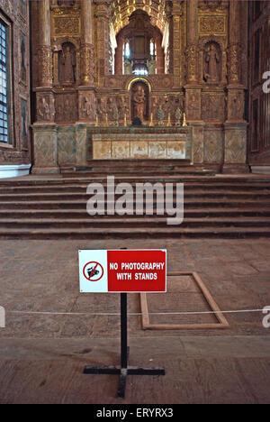 No photography with tripod board in se cathedral ; Old Goa ; Velha Goa ; India 7 May 2008 - Stock Photo