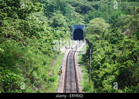 Konkan railroad through trees toward tunnel ; Ponda ; Goa ; India 7 May 2008 - Stock Photo