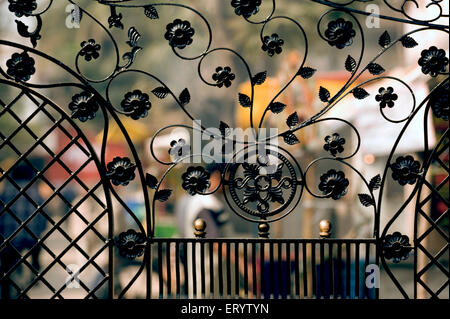 Miscellaneous wrought Iron gate ; West Bengal ; India - Stock Photo