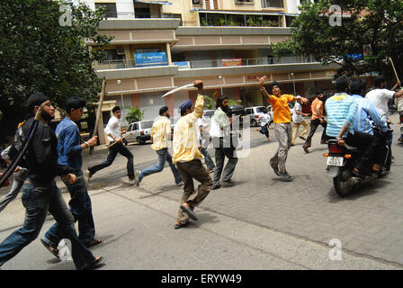 Sikh community protest against firing bodyguard of dera saccha sauda chief ram rahim at Mulund in Bombay - Stock Photo