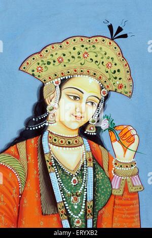 Miniature painting of Mughul Queen Mumtaz Mahal - Stock Photo