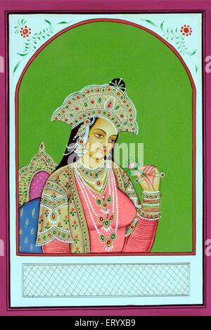 Miniature painting of Mughal Queen Mumtaz Mahal - Stock Photo