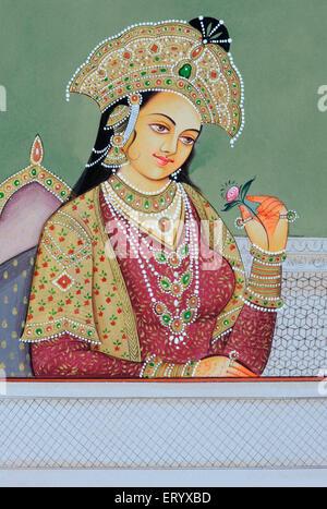 Mumtaz Mahal Miniature painting of Mughal Queen - Stock Photo