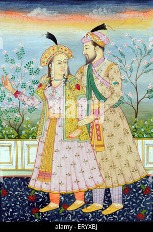 Miniature painting of Mughal Emperor Shah Jahan with Wife Mumtaz Mahal - Stock Photo