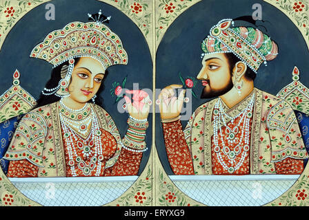 Shah Jahan and Mumtaz Mahal Miniature Painting - Stock Photo