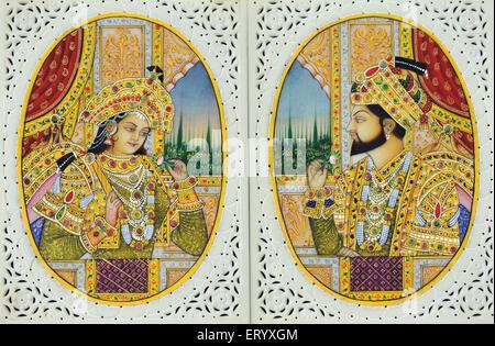 Miniature Painting of Shah Jahan with wife Mumtaz Mahal India - Stock Photo