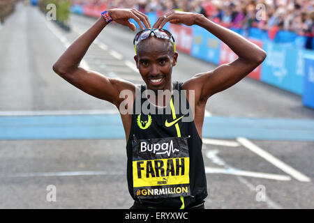 Mo Farah after winning the 2014 northeast,s Great North Run - Stock Photo