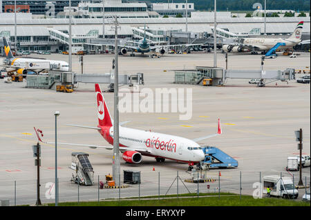 AirBerlin Plane on Munich Airport - Park Position - Stock Photo