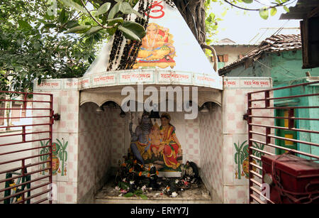 temple of Shiva Parvati and Ganesha in Kolkata at West Bengal India Asia - Stock Photo
