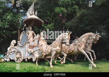 Lord Krishna and arjuna in chariot ; India - Stock Photo