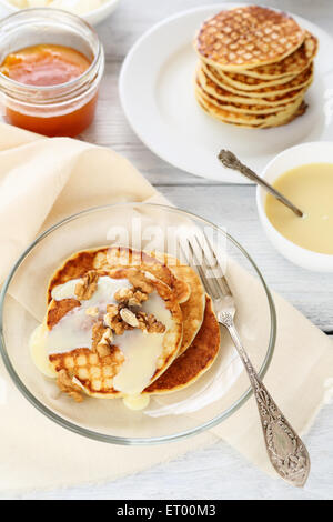 Pancakes on a plate, food - Stock Photo