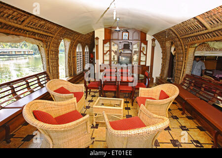 Luxurious lounge in houseboat in backwaters ; Alleppey Alappuzha ; Kerala ; India - Stock Photo