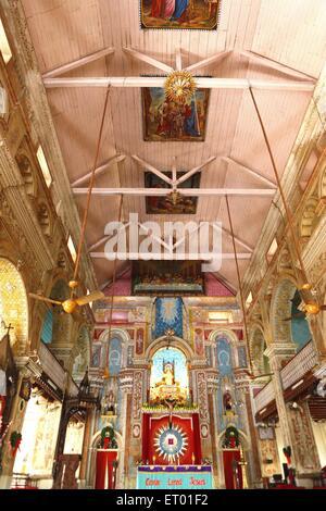 Interior of santa cruz catholic cathedral showing alter and murals on ceiling ; Cochin Kochi ; Kerala ; India - Stock Photo