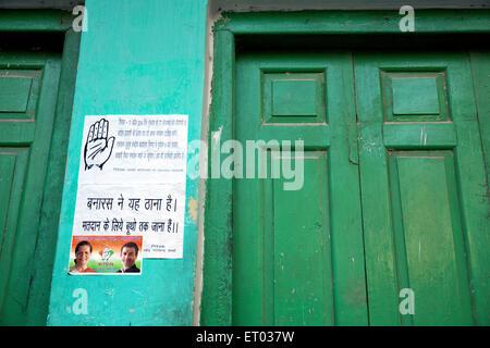 Congress Poster on wall Varanasi uttar pradesh India Asia - Stock Photo