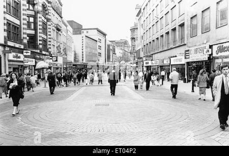 General scene of Lord Street Liverpool 24th July 1989 - Stock Photo